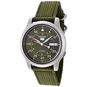 Seiko Men's SNK805 Seiko 5 Automatic Green Canvas Strap Watch from Seiko