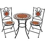 TecTake Robustes und Hochwertiges Mosaik Gartenmöbel Set 2 Stühle und