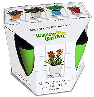Window Garden Aquaphoric Planter Kit - Window Shelf, Self Watering Planter and Soil. Attractive, Extremely Effective, Grow an Indoor Herb Garden or Veggies, Flowers and Microgreens. Gift for the Indoor Gardener!