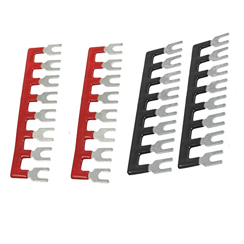 URBEST(R)400V 10A 8 Postions Pre Insulated Terminal Barrier Strip Red /Black 4 Pcs