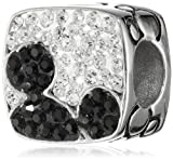 Disney Stainless Steel Hidden Mickey Black and White Crystal Bead Charm
