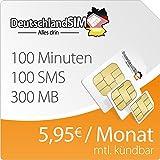 DeutschlandSIM SMART 300 [SIM, Micro-SIM und Nano-SIM] monatlich kündbar (300MB Daten-Flat mit max. 7,2 MBit/s, 100 Frei-Minuten, 100 Frei-SMS, 5,95 Euro/Monat, 15ct Folgeminutenpreis) O2-Netz