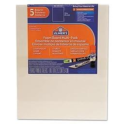 Elmers Pre-Cut White Foam Board Sheets, 8 x 10, 5/PK 950020