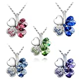 Wrapables 18K Gold Plated Swarovski Elements Crystal Four Leaf Clover Pendant Necklace, 18 inches