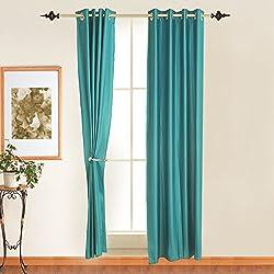 Door Curtain Polyester (1 curtain), 4 x 7 ft, Blue