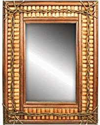 Rustic Log & Twig Wall-Mounted Mirror 24\