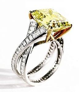 2 Carat Fancy Yellow VVS1 Diamond Engagement Anniversary 14k White or yellow gold