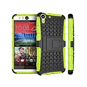 Heartly Flip Kick Stand Spider Hard Dual Rugged Armor Hybrid Bumper Back Case Cover For HTC Desire Eye - Great Green