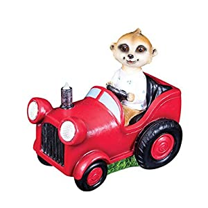 "2 X GardenKraft 20950 ""Baby Ollie Meerkat Driving a Tractor Solar LED Light"" Decorative Garden Ornament from Benross Group"