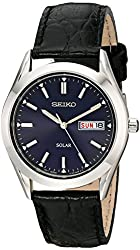 Seiko Men's SNE049 Stainless Steel Solar Watch with Black Band