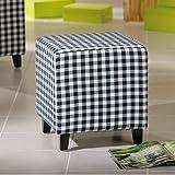 lounge-zone Kinderhocker Polsterhocker Sitzhocker Sitzwürfel [KARO] dunkelblau-weiß kariert 38x40cm 6063