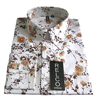 "Shirt Floral Pattern Off White Men's Classic Mod Vintage Design (Small chest 36 to 38"" Length 72cm collar 14-14.5)"