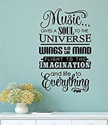 Music Gives A Soul To The Universe Vinyl Decal Wall Decor Stickers Lettering Room Décor 22x36