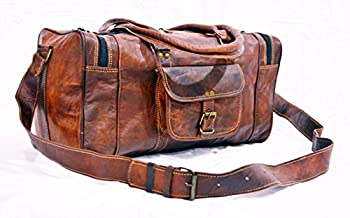 """22"""" LEATHER DUFFLE BAG FOR MENS BROWN"""
