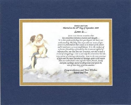 Personalized Touching And Heartfelt Poem For Wedding - Love Is . . . Poem On 11 X 14 Inches Double Beveled Matting (Blue On Gold) front-315140