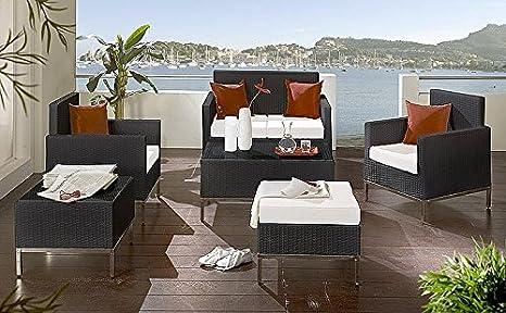 Gartenmöbel Sitzgruppe Bari 6-teilig anthrazit Kunstfaser Polyrattan Gartengarnitur