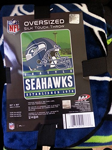 Seattle Seahawks Nfl Oversized Silk Touch Throw Blanket 60 X 80 front-491625