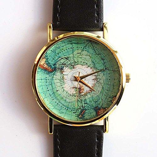 antique-map-of-antarctica-1912-unisex-men-women-leather-wristwatch
