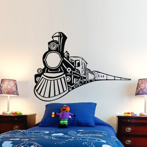 Vehicle Wall Decals - The Train Coming Pvc Vinyl Art Wall Stickers Decals Kids Boys Bedroom Living Room Decor Mural Art front-815337