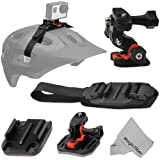Vivitar Helmet Mount Kit for GoPro Hero4 Hero3+ Hero3 Hero2 and Hero - Bundle Includes: Curved Helmet Mount + Flat Surface Mount + Vented Helmet Strap + MagicFiber Microfiber Lens Cleaning Cloth