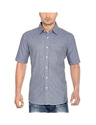 Moksh Dark Blue Slim Fit Cotton Shirt V2IMS0414SS-147