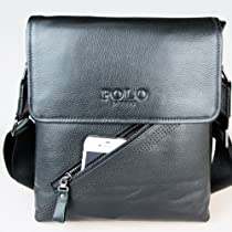 Hot Sale Genuine Leather Ipad Bag / Men's Cross Body Bag / Messenger Shoulder Bag / Business Briefcase Bag - Top Quality - 100% Full Real Leather - Black Color