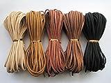 【1m50本セット】 スエード 革ひも 皮ひも  5色×10本 オリジナル アクセサリー チョーカー 皮紐 革紐 (B)