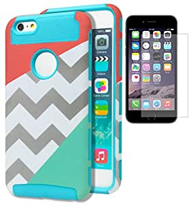 """iPhone 6 Plus Case, Bastex Hybrid Deluxe Gray and White Chevron Case Splitting an Orange Blue Cover with Soft Sky Blue Silicone Shell for Apple iPhone 6 Plus (6+, 5.5"""") 6th Generation [[[INCLUDES SCREEN PROTECTOR]]]"""