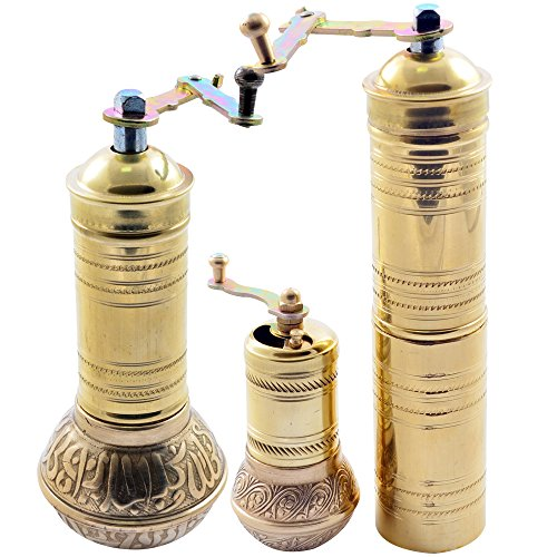 Manual Hand Grinder Mill SET for Turkish Greek Arabic Coffee Beans & Spice Pepper Salt , Brass (All Family)