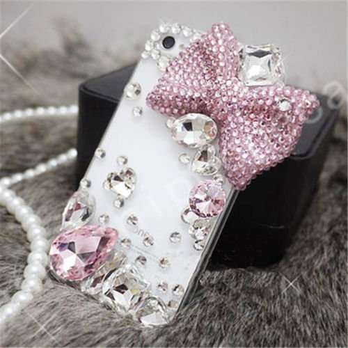 XKAUDIE(TM) Luxury Cute Bow Bling Diamond Crystal Hard Back Cover Case For Smart Mobile Phones(ZTE Grand X Max 2 /Max Duo LTE Z962G) (Mobile Covers For Grand 2 compare prices)