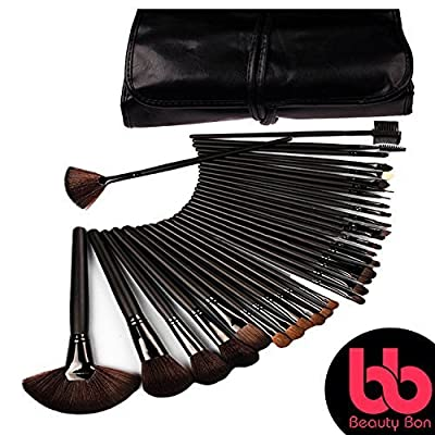 Beauty Bon Professional Makeup Brush Set, 32-Pc Set With Wood Handles, Includes Case