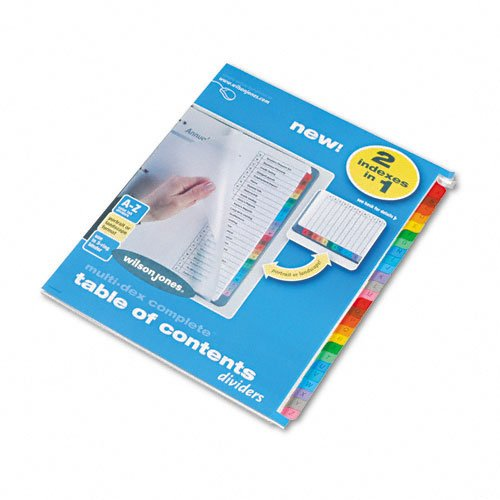 Wilson Jones Products - Wilson Jones - MultiDex Index Assorted Color 26-Tab, A-Z, Letter, 26/Set - Sold As 1 Set - Just print or type titles on copymaster or laser practice sheet, then use a copier to produce as many sets as you need. - Clear, textured poly cover sheet protects Table of Contents page. - Three-hole punched for use in standard ring binders. - Easy formatting with free templates available on manufacturer's website. -