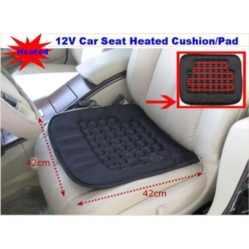 Koolertron Car Heated Seat Cushion Hot Cover Auto 12V Heat Heater Warmer Pad-Winter Black front-158600