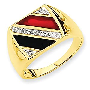 14k Yellow gold Men's Onyx & Red Agate Diamond Ring from Vishal Jewelry