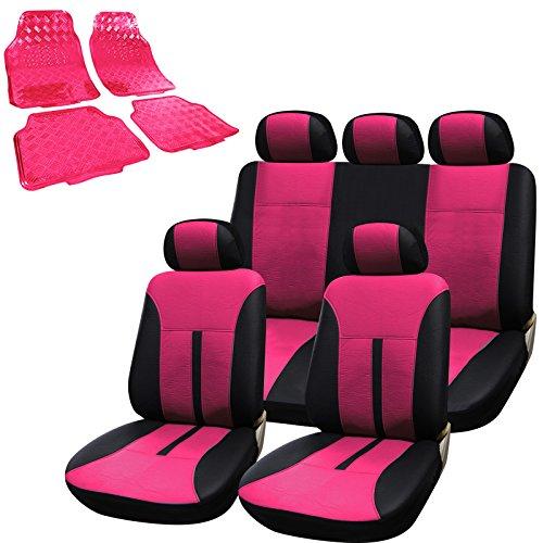 WOLTU-Universal-Autositzbezug-Auto-Fumatten-Set-Sitzbezge-Schonbezug-Schonbezge-Alu-Look-mit-4-tlg-Fumatten-PVC-AS7288pkAM7161