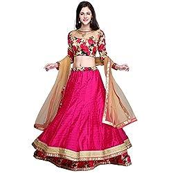 Bhagalpuri Silk & Shantoon Pink Lehenga