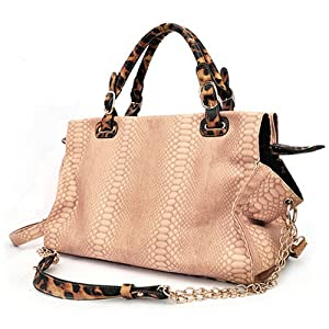 WINDA Large Beige Faux Crocodile / Leopard Animal Print Accents Double Top Handle Top Closure Shopper Tote Hobo Shoulder Bag Handbag Purse