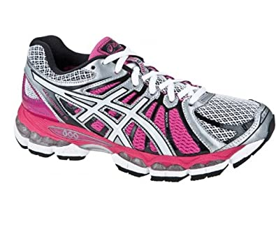 ASICS Ladies Gel-Nimbus 15 Running Shoes, Silver/Pink, UK3