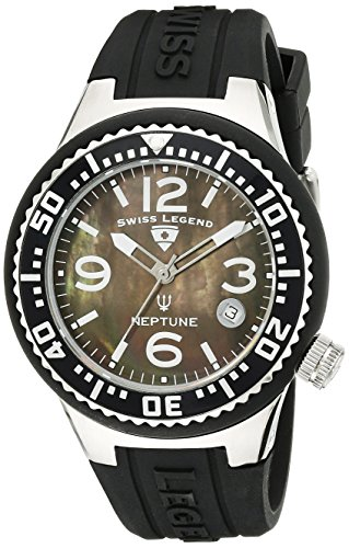 SWISS LEGEND Neptune 11044p - 01MOP 44 de acero inoxidable para hombre goma-reflectante Sapphire reloj infantil de cuarzo para mujer