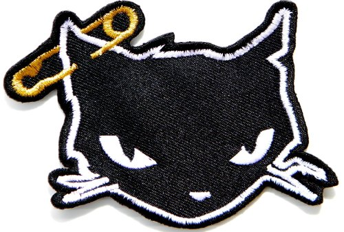 Black Cat kitty Kitten Rider Kid Baby Jacket T-shirt Patch Iron on Embroidered Sign Badge Costume Clothing
