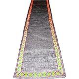 Designer Grey Linen Jute With Multi Color Border Table Runner (13 X 72 Inch)