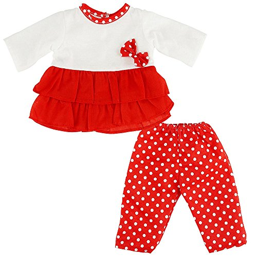 You & Me 16-18 Inch Doll Playtime Outfit - Red/White Top With Polka Dot Leggings front-884321