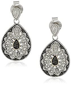 Sterling Silver and 14kt Yellow Black Diamond Pear Shape Art Deco Earrings