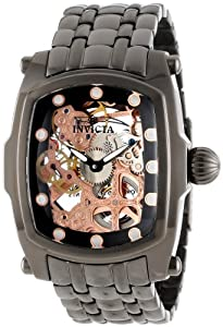 Invicta Men's 11557 Lupah Mechanical Rose Gold Tone Skeleton Dial Gunmetal Ion-Plated Stainless Steel Watch