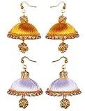 gold white silk thread earrings - two set (gld-wht-slk-erng)