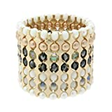 French Connection Tonal Facet Bead and Pearl Stretch Blet of Length 18-19cm Extension