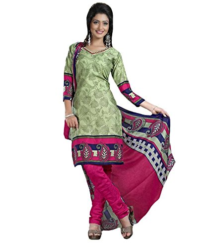 Vineberi Beautiful And Pleasing Unstitched Cotton Rich Printed Green Salwar Suit Dress Material With Dupatta  available at amazon for Rs.399