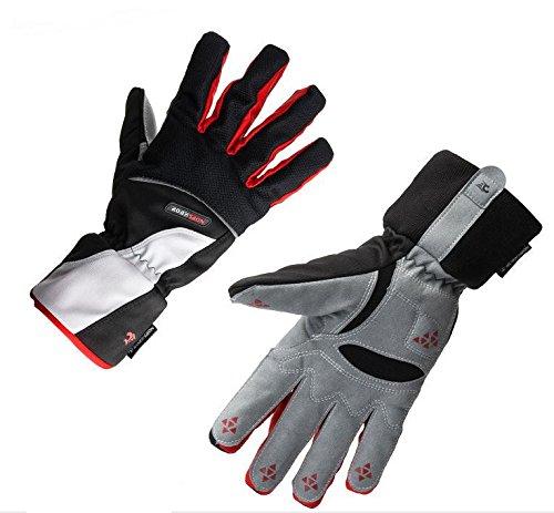 JSH Guanti esterna che guida i guanti pieni della bici guanti di slittamento, sci alpinismo Guanti (Nero rosso, L)