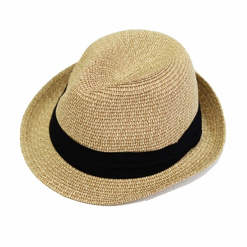 (Edges tea) EdgeCity [000319] folding larger size large mens women's straw hat straw hat (71 / beige, M)