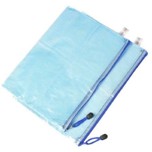 Blue Soft Plastic Zip Closure A4 Paper Document Files Bags 2 Pcs